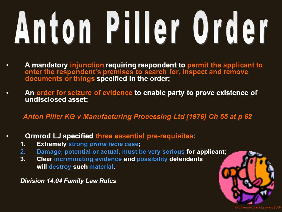 Anton Piller KG v Manufacturing Processing Ltd [1976] Ch 55 at p 62